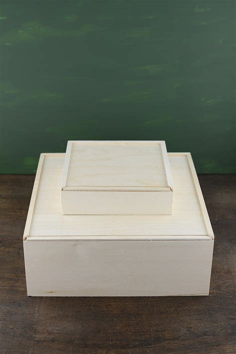 Wood Box with Sliding Lid 11.5in