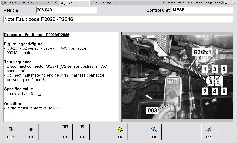 Mercedes c180 fault code 2029