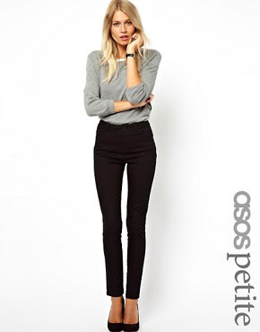 Image 1 of ASOS PETITE High Waist Trousers in Cotton Twill