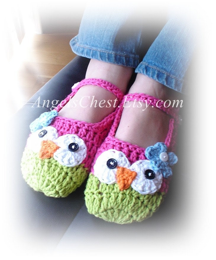PDF Crochet Pattern Owl Mary Janes Slippers Sizes Preteen to Adult No. 17