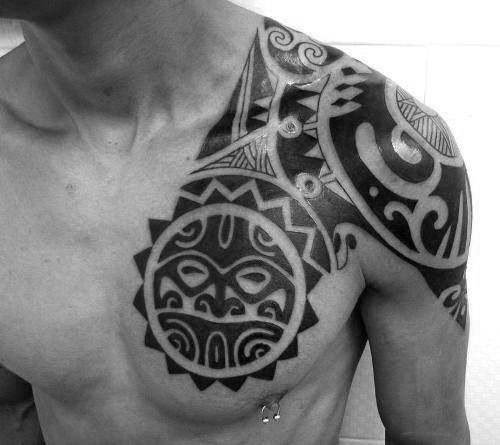 50 Tribal Sun Tattoo Designs For Men Black Ink Rays