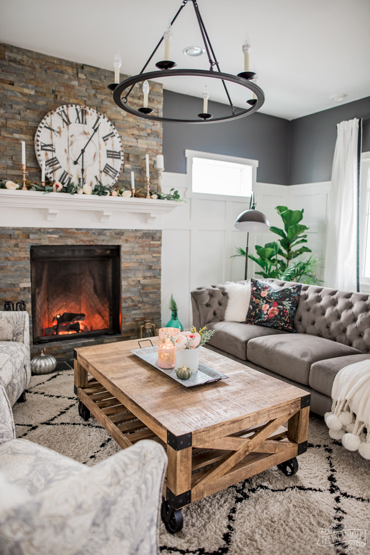 A Cozy, Rustic Glam Living Room Makeover for Fall