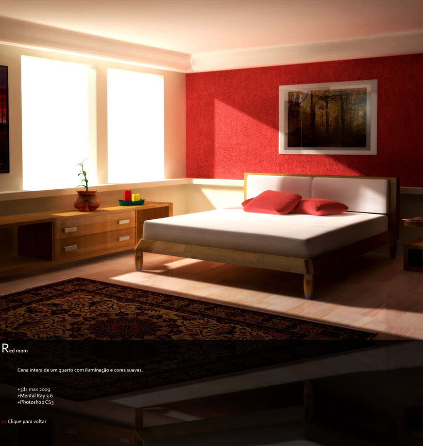 Bedroom Red Wall Design