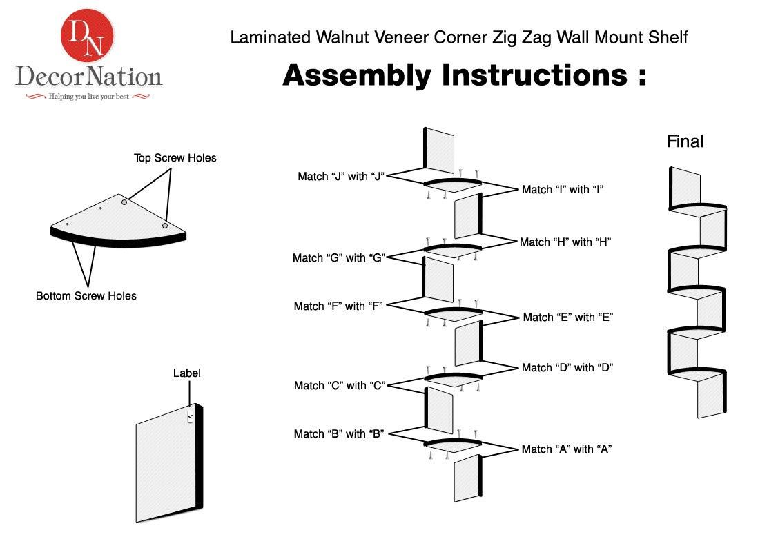 Laminated Walnut Veneer Corner Zig Zag Wall Mount Shelf Wall Decor ...