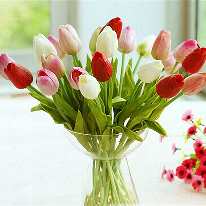 Aliexpress.com : Buy 30pcs\/lot Tulip Artificial Flower 2016 PU artificial bouquet Real touch