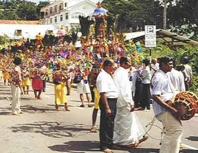 Annual Kavadi procession through Victoria, capital of Seychelles
