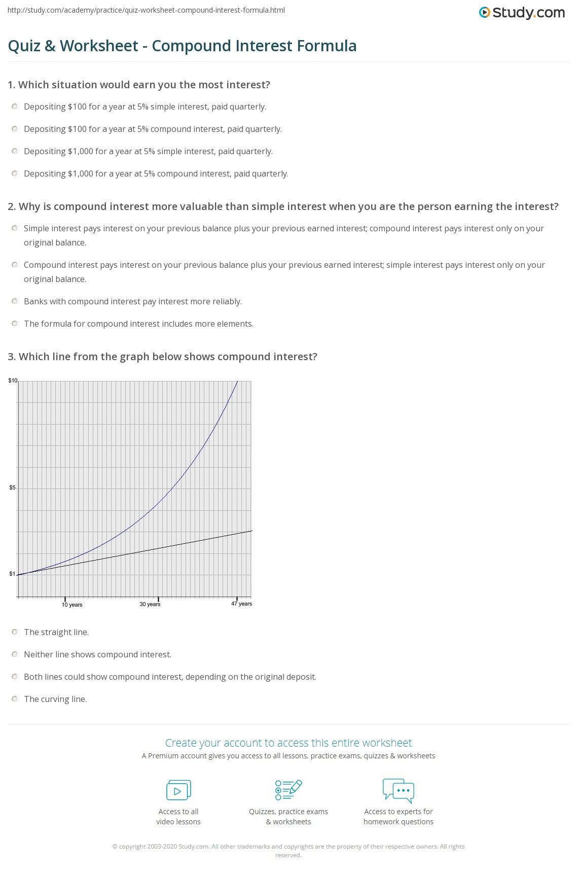 Simple Interest Math Worksheets  12 best images of simple interest printable worksheets formula