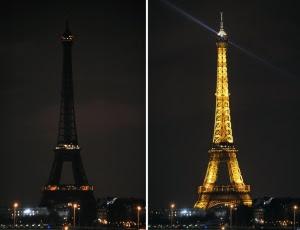 Fotos mostram a Torre Eiffel com as luzes apagadas e acesas na Hora do Planeta em 2009