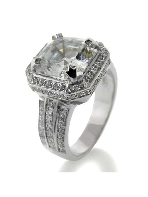 4 Carat High Quality Asscher Cut Cubic Zirconia Halo
