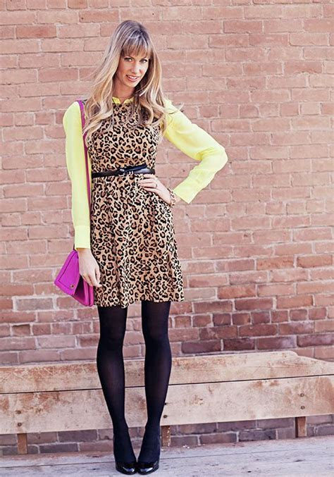 animal leopard print dress color blouse button  tights