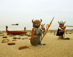 Vikings on the shore made out of legos