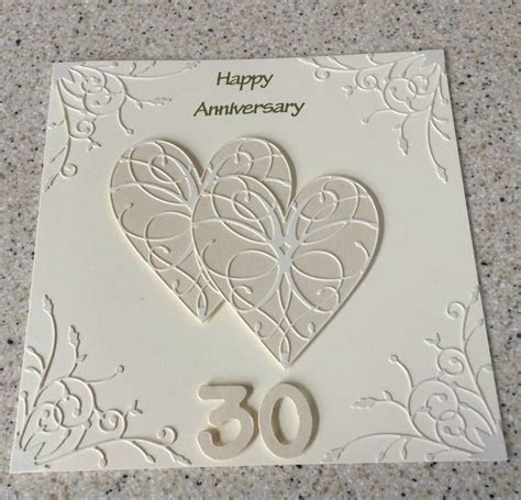 Handmade pearl wedding anniversary card 30th wedding