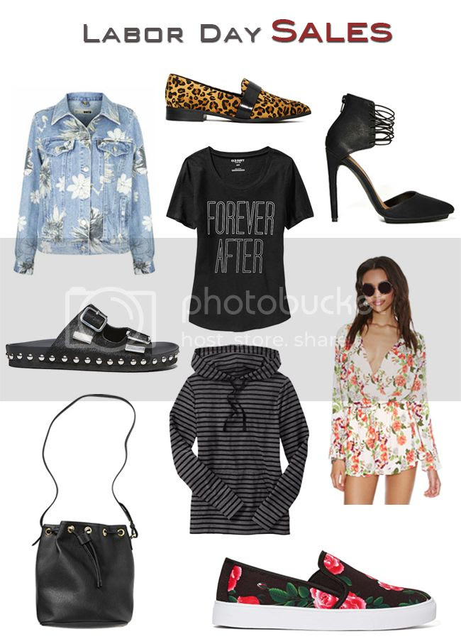See stylish Labor Day picks from Old Navy, Nasty Gal, and Steve Madden including: leopard loafers, floral denim jacket, floral romper, striped hoodie, and a bucket bag