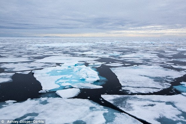 The report also says melting Arctic ice (stock image shown) could open new military  and trade routes. It could lead to 'conditions that can enable terrorist activity and other forms of violence'