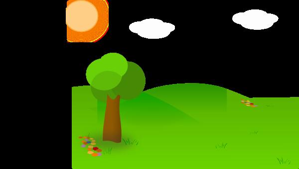 meadow clipart nice landscape cartoon hi
