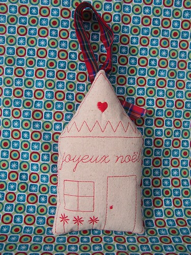 Joyeux Noel Redwork House Ornament