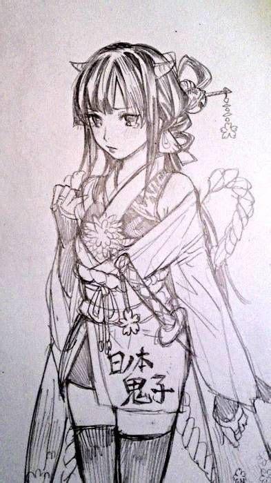 anime art anime girl kimono thigh high stockings
