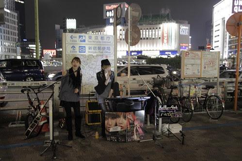 Mai and Mami of Red Pepper Girls performing at Shinjuku 3