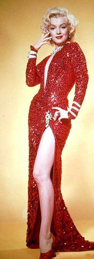 Wearing the dress in the publicity poster for Gentlemen Prefer Blondes
