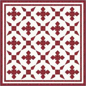 Red and White 2 block Quilt 7