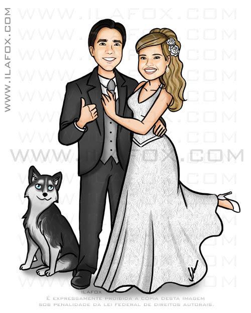 Caricatura casal com Husky Siberiano, caricatura casal com cão, caricatura noivos, by ila fox
