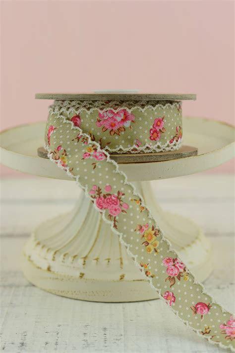 "Vintage Floral Ribbon Green 1"" width x 10 yds"