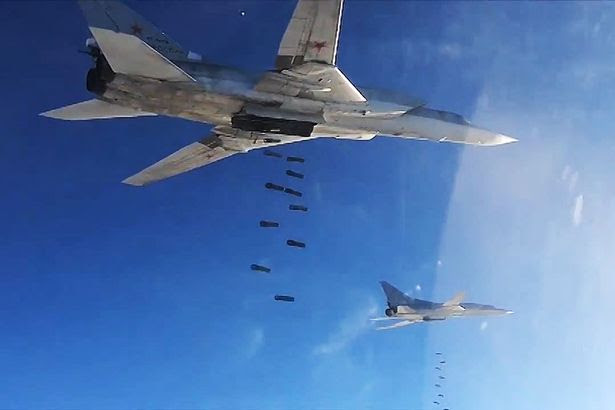 Tupolev Tu-22 long-range strategic bombers of the Russian Air Force's long-range aviation carry out airstrikes against ISIS targets in Syria