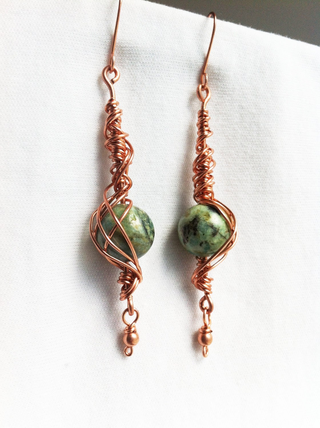 NEPTUNE'S SONG - Chrysocolla Copper Wrapped Earrings