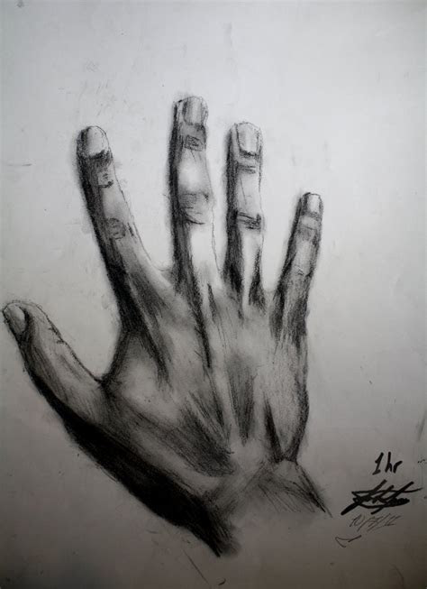 charcoal drawing   hand  joshfjames  deviantart