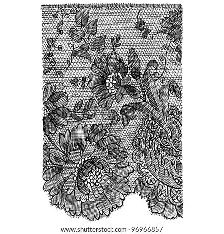 French Black Lace - Vintage Engraved Illustration - &Quot;Decor ...