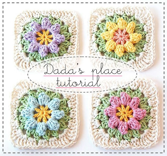 "Dada's place: Primavera Flowers Granny Square Tutorial.  SK NOTES: Love the colors and design of these crocheted ""Primavera flowers granny squares"" - and they make a lovely afghan, pillows, or both for Spring and Summer, that's for sure. Nice inspiration. :-)"