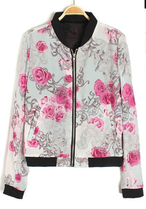 Band Collar Printed Outerwear