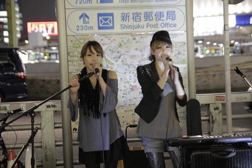 Mai and Mami of Red Pepper Girls performing at Shinjuku