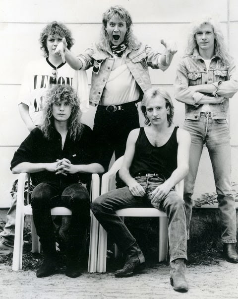 DEF LEPPARD Promotional photo of UK rock group in June 1988
