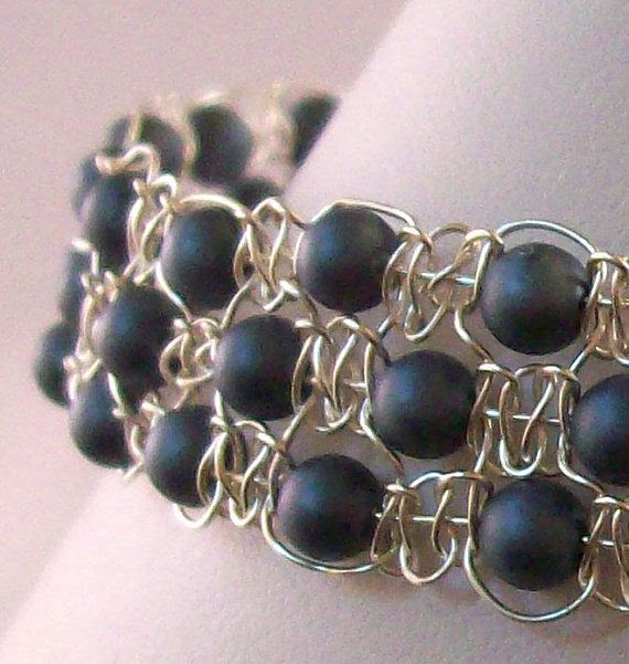 Silver Wire Macrame and Grey Shell Pearl Cuff by DealanachDesigns, £22.50