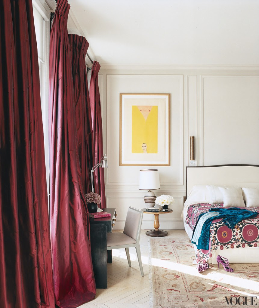 burgandy red rose silk drapes