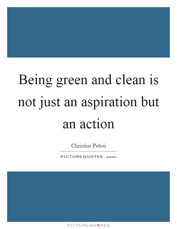 Being Green And Clean Is Not Just An Aspiration But An Action