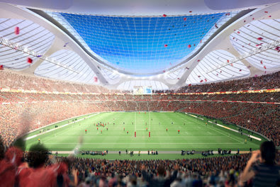 A rendering of Zaha Hadid's design for the Olympic stadium in Tokyo.