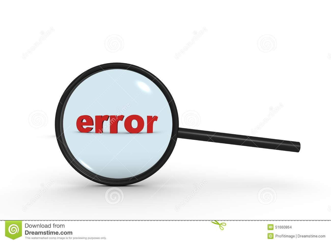 search error text inside magnifying glass means finding errors 51660864