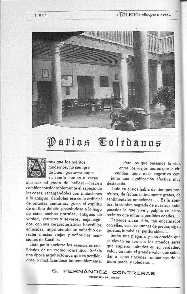 Patio toledano. Fotografía publicada en febrero de 1928 en la Revista Toledo
