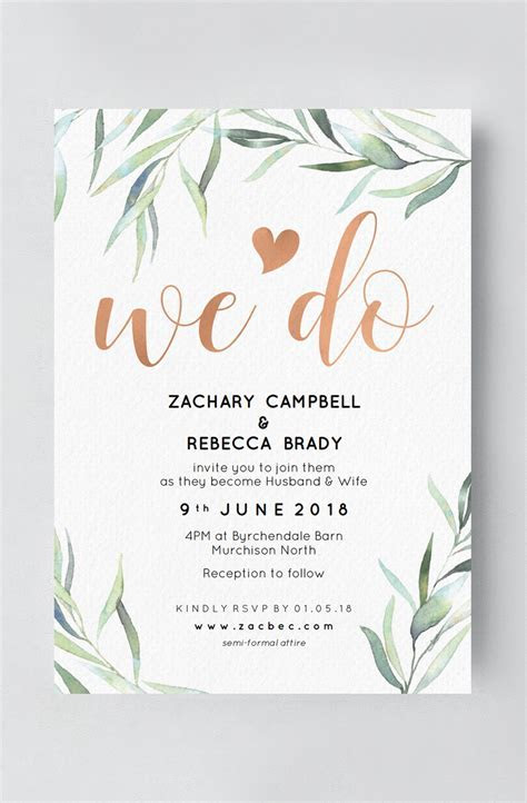 Wedding invitation, Rose gold and greenery wedding