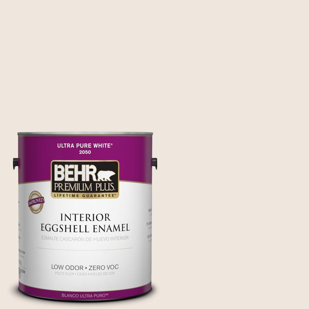 Interior Paint, Exterior Paint & Paint Samples: BEHR Premium Plus Paint 1-gal. #W-B-710 Almond Cream Zero VOC Eggshell Enamel Interior Paint 205001