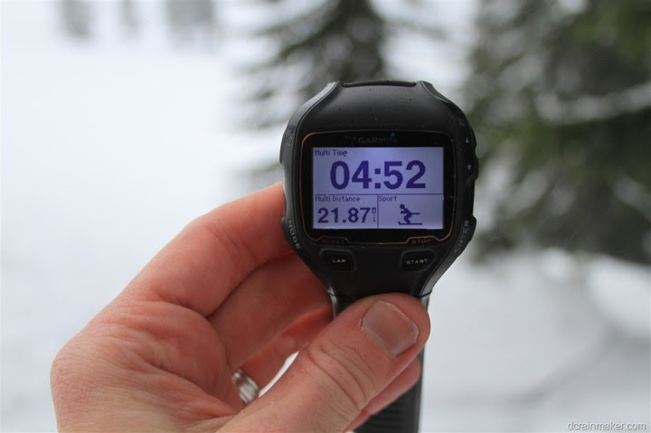 Garmin FR910XT in Skiing Mode