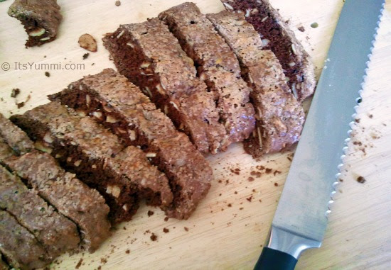 Sliced Double Chocolate Almond Biscotti - Photo by Becca Heflin of It's Yummilicious