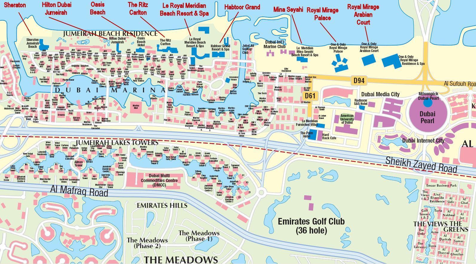 UAE Dubai Metro City Streets Hotels Airport Travel Map Info Dubai