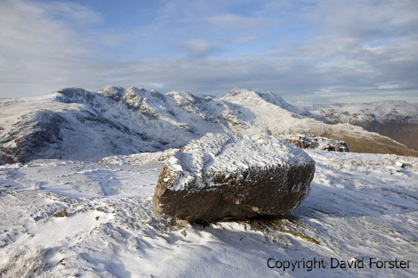 05D-9684 Winter Snow on Crinkle Crags and Bow Fell Viewed from Pike of Blisco Lake District Cumbria England UK