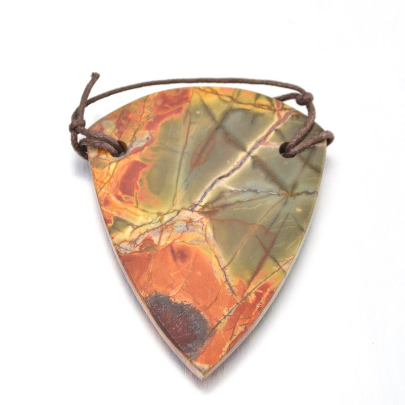s48986 Stone Pendant - OOAK - 65 mm Sheild - Red Creek Jasper