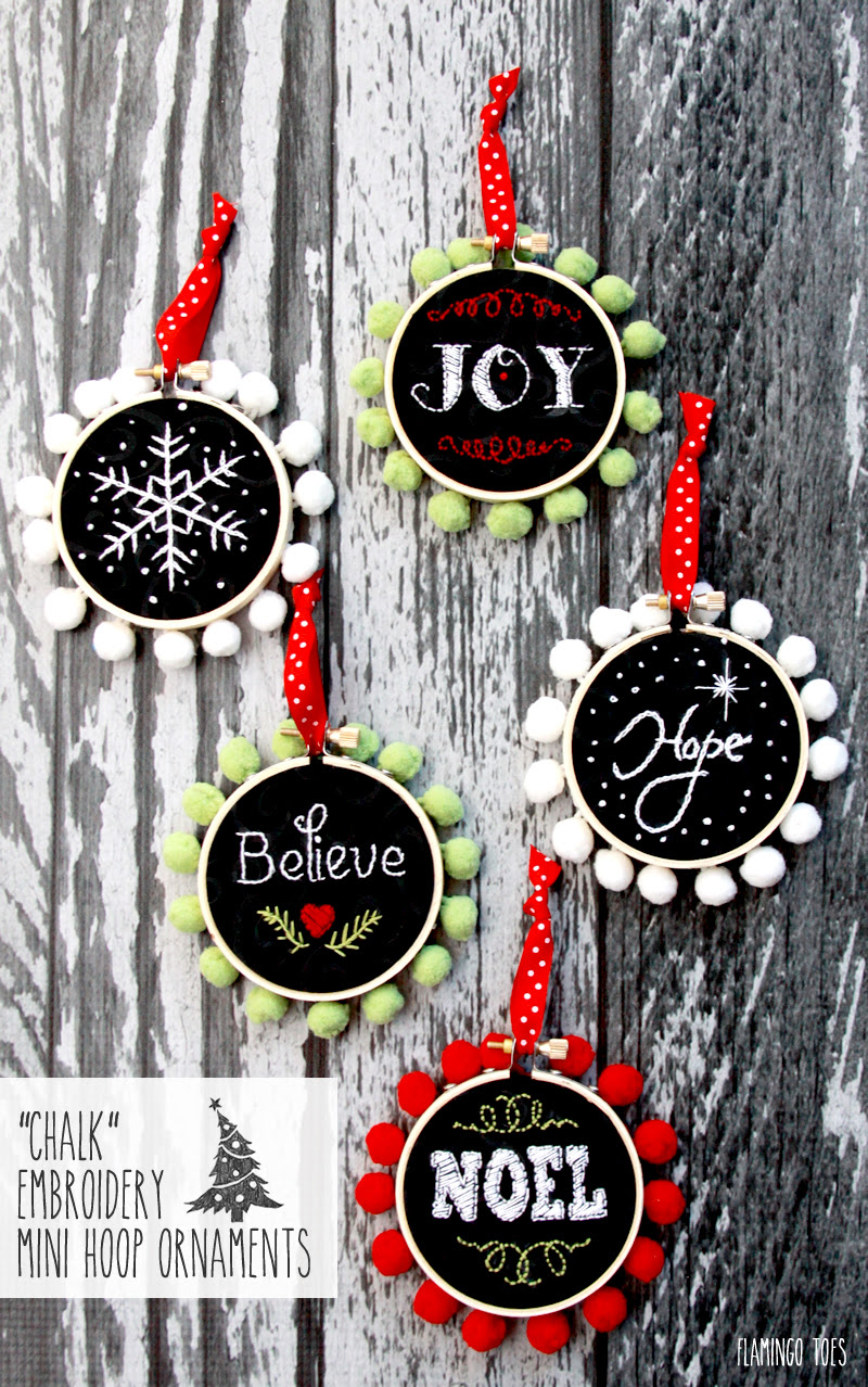 Chalk Embroidery Mini Hoop Ornaments