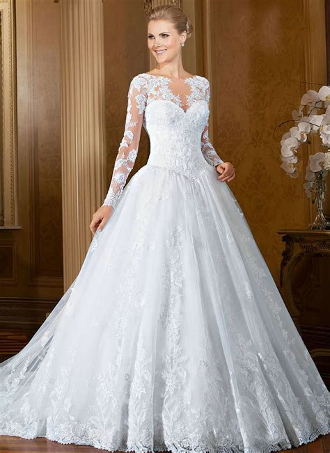 White Wedding Dresses With Long Sleeves   Dresscab