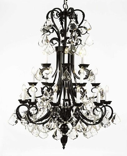 """Large Foyer / Entryway Wrought Iron Chandelier 50"""" Inches Tall"""